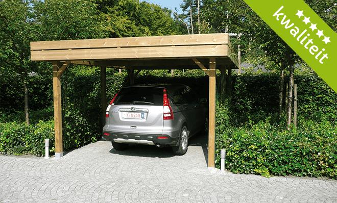 houten carport plat dak t Goor